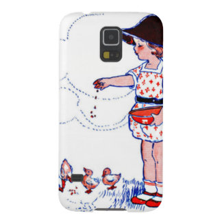 Little girl feeding her baby chicks cases for galaxy s5