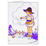 Little girl feeding her baby chicks greeting card