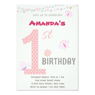 Little Girl First Birthday Party Invitation (Pink)