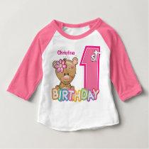 Little Girl First Birthday Teddy Bear Baby T-Shirt