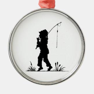 Little Girl Fishing Silhouette Metal Ornament
