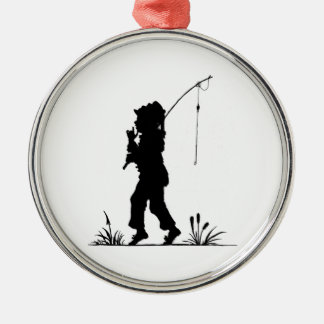 Little Girl Fishing Silhouette Christmas Ornaments