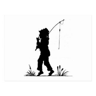 Little Girl Fishing Silhouette Postcard