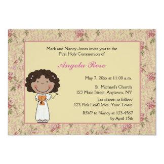 Little Girl, Floral Communion Invitation