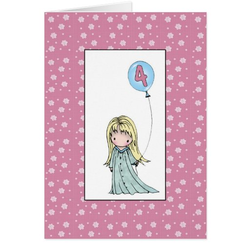 Little Girl Four Year Old Birthday Card