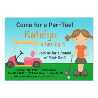 Little Girl Golfer Golf Birthday Party Invitation