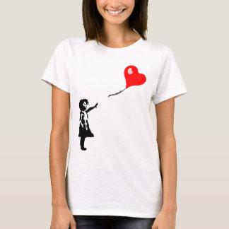 Little Girl Heart Balloon Illustration T-Shirt