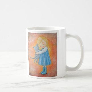 Little Girl Holding Cat Home Coming Tabby Cat Coffee Mug