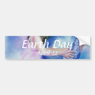 Little Girl Holding  Globe Earth Bumper Sticker