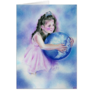 Little Girl Holding  Globe Earth Card