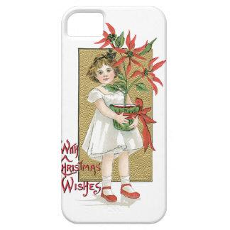 Little Girl Holding Poinsettia Vintage Christmas iPhone SE/5/5s Case