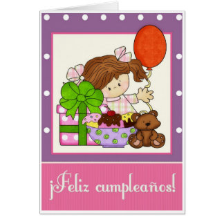 Little Girl Ice Cream Spanish Birthday Card 1