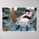 Little Girl in a Blue Armchair, 1878 Mary Cassatt Poster