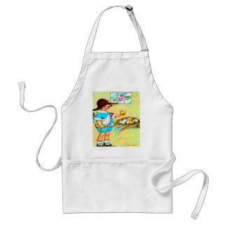 Little girl in a floppy hat with hatching chicks, adult apron
