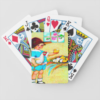 Little girl in a floppy hat with hatching chicks, bicycle playing cards