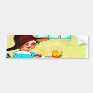 Little girl in a floppy hat with hatching chicks, bumper sticker