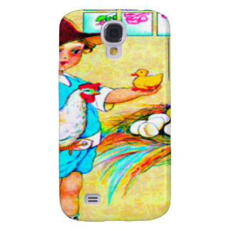 Little girl in a floppy hat with hatching chicks, galaxy s4 cases