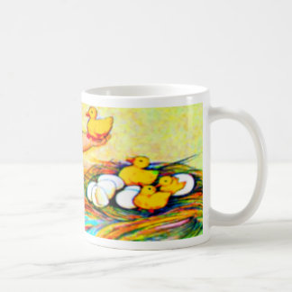 Little girl in a floppy hat with hatching chicks, coffee mug