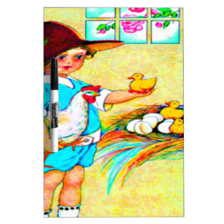 Little girl in a floppy hat with hatching chicks, dry erase white board