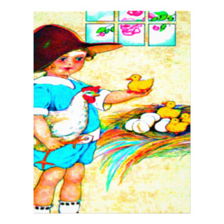 Little girl in a floppy hat with hatching chicks, customized letterhead