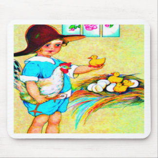 Little girl in a floppy hat with hatching chicks, mouse pads