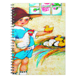 Little girl in a floppy hat with hatching chicks, notebooks