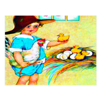 Little girl in a floppy hat with hatching chicks, postcard