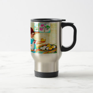 Little girl in a floppy hat with hatching chicks, travel mug