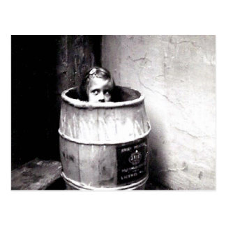 Little Girl in Barrel Postcard