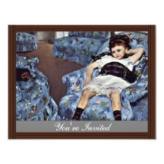 Little Girl In Blue Armchair By Cassatt Mary (Best 4.25x5.5 Paper Invitation Card