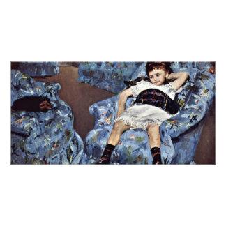 Little Girl In Blue Armchair By Cassatt Mary (Best Custom Photo Card