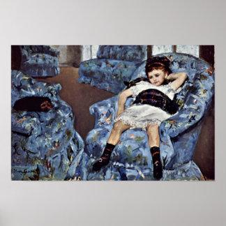Little Girl In Blue Armchair By Cassatt Mary (Best Posters