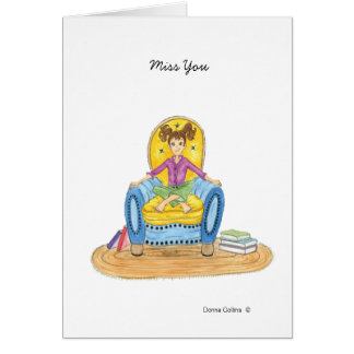 Little girl in blue chair miss you blank note card