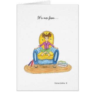 Little girl in blue chair missing you card