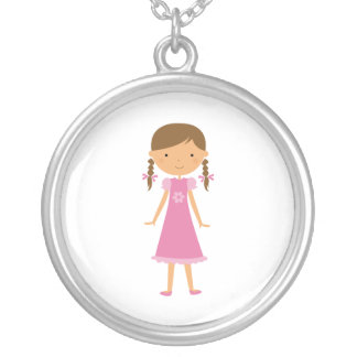 Little Girl in Brown Braids Necklace