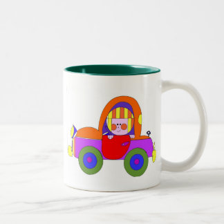 little girl in car Two-Tone coffee mug