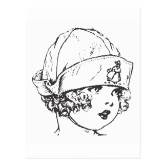 Little Girl in Cloth Hat Post Card