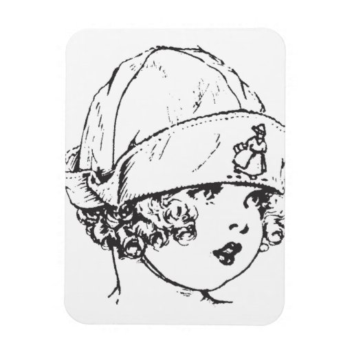 Little Girl in Cloth Hat Rectangular Photo Magnet