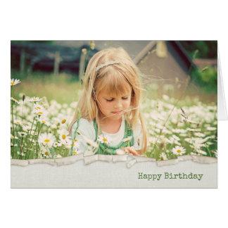 little girl in daisies in torn edge border card