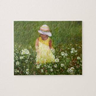 Little Girl in Field of Flowers Jigsaw Puzzle