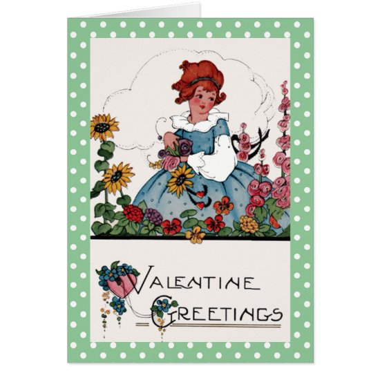 Little Girl in Garden Valentine Card