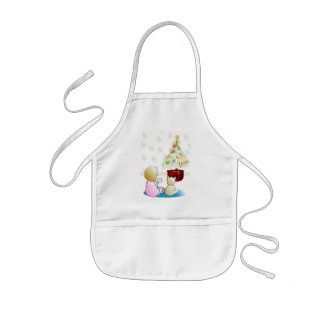 Little Girl in Nightgown Christmas Eve Kids' Apron