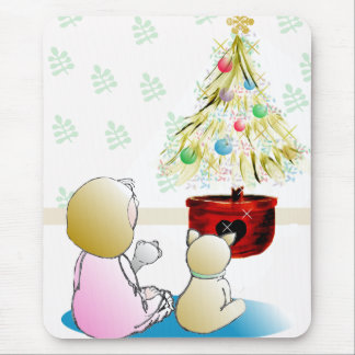 Little Girl in Nightgown Christmas Eve Mouse Pad