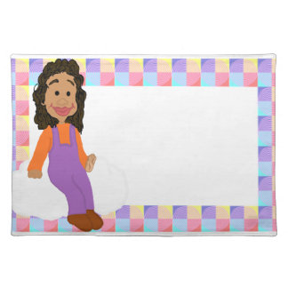 Little Girl in Overalls Placemat Cloth Place Mat
