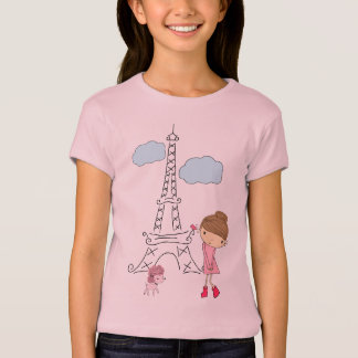 Little Girl in Paris with Poodle shirt for a girl