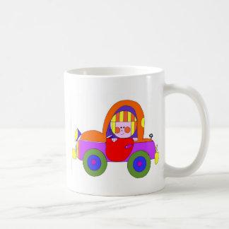 little girl in red car classic white coffee mug