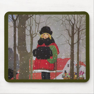 Little Girl in Red Coat Mouse Pads