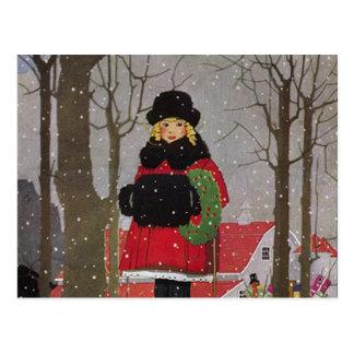 Little Girl in Red Coat Postcard
