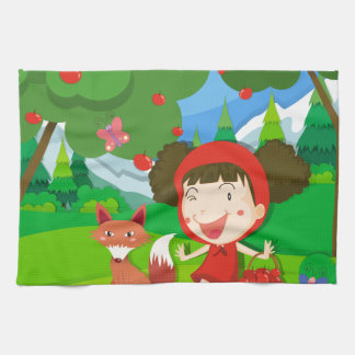 Little girl in red dress and a wolf kitchen towel