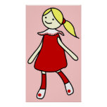 Little Girl in Red Dress Posters